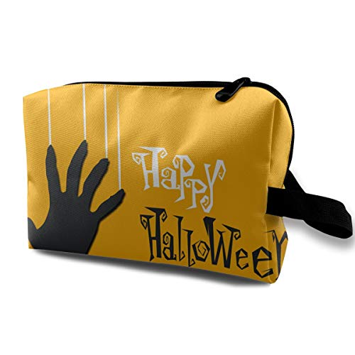 Yellow Happy Halloween Zombie Hand Multi-function Travel Makeup Toiletry Coin Bag Case -