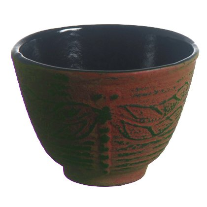 (New Star International T7031 Cast Iron Tea Cup, 4-Ounce, Red Dragonfly)