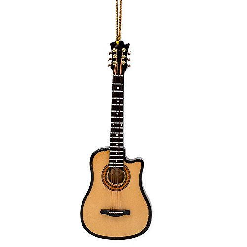 String Guitar With Cutaway Miniature Replica 2 x 5 Wood Christmas Ornament - 5 Miniature Ornaments