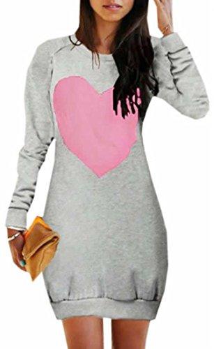 Unko Women's Fashion Pullover Heart Print Dresses Sweatshirt Gray Small - Famu Heart