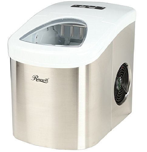 Rosewill Compact Ice Maker Countertop, Ice Machine for Home, Stainless Steel with White Top RHIM-15001