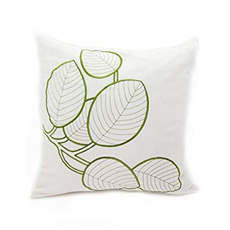 Cream Green Cotton Linen Cushion KainKain Branch Tree Decorative Pillow Cover Farmhouse Home Decor Twig Leaves Pillow Case Embroider Botanical Tropical Pillow for Couch Sofa 18 inch x 18 inch
