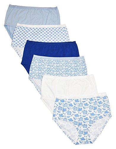 Cherokee Women's 6 Piece Ladies Cotton Stretch Brief Underwear, White/Blue/Print, L