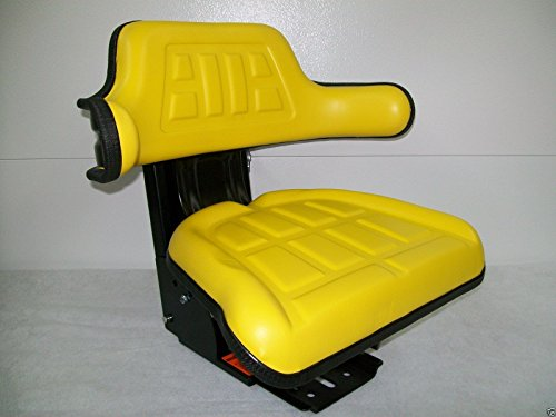 Yellow Waffle Style Universal Tractor Suspension Seat, Multi-Angle Base for John Deere 2040, 2155, 2750, 2755, 2840, 2855 (FAST & FREE DELIVERY!) #IE62 by Concentric