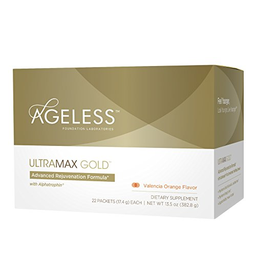 Naturade Ageless UltraMAX GOLD Effervescent Powder – Valencia Orange Flavor – 22 Packets, Packaging may vary by UltraMax