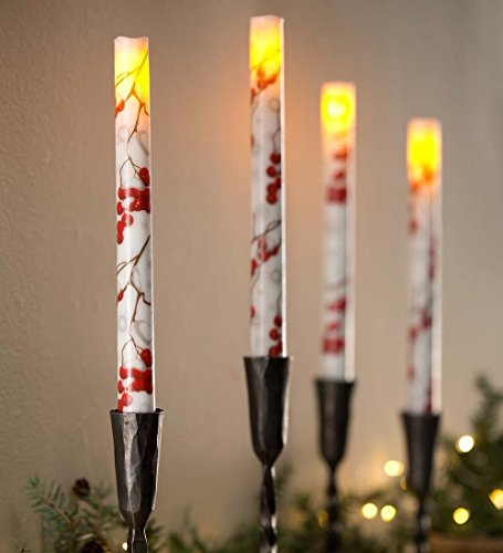 - Flameless LED Winterberry Taper Candle Pair with Auto Timer
