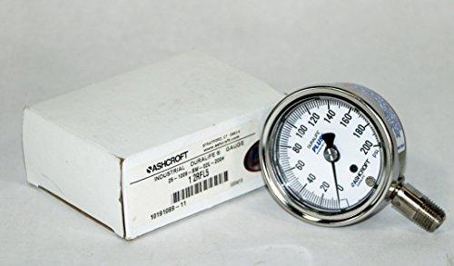 NEW ASHCROFT 25-1009-SW-02L-200# DURALIFE 0-200PSI PRESSURE GAUGE D532799