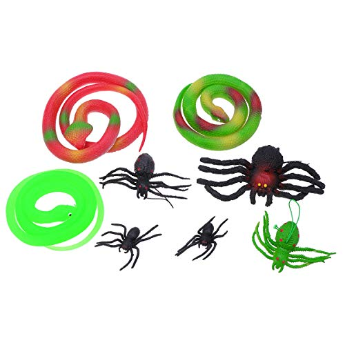 TOYANDONA 8pcs Glow Realistic Spider and Cobra Snake Halloween Trick or Treat Toys for Kids -