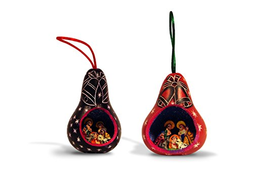 #20 Six Assorted Hand Carved Gourd Christmas Decor Hanging Ornament From ()