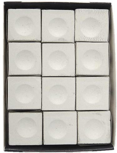 - Sterling Gaming Silver Cup Pool Cue Chalk Cubes in White - 12 Pc Set