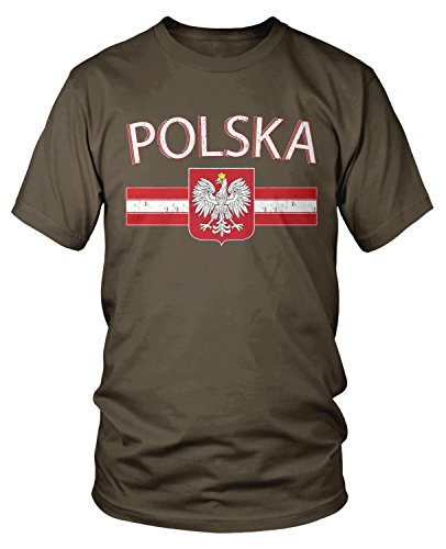 Amdesco Men's Polska Poland Flag and Polish White Eagle T-Shirt, Dark Chocolate Large