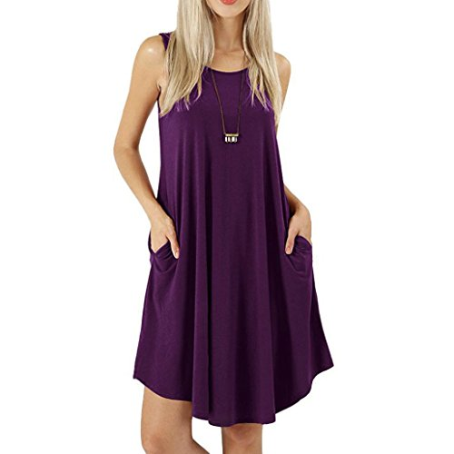 TOPUNDER Sleeveless Dress with Pockets Casual Swing, used for sale  Delivered anywhere in USA