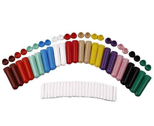 Bekith 24 Pack Essential Oil Aromatherapy Empty Nasal Inhaler Tubes with Wicks, 12 Color Plastic Vapor Inhaler Tubes