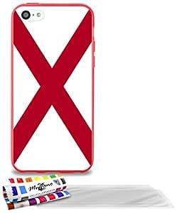 """Carcasa Flexible Ultra-Slim APPLE IPHONE 5C de exclusivo motivo [Bandera de Alabama] [Roja] de MUZZANO  + 3 Pelliculas de Pantalla """"UltraClear"""" + ESTILETE y PAÑO MUZZANO REGALADOS - La Protección Antigolpes ULTIMA, ELEGANTE Y DURADERA para su APPLE IPHONE 5C"""