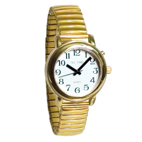 Tel-Time Talking Auto-Synchronizing Watch- Gold-Tone
