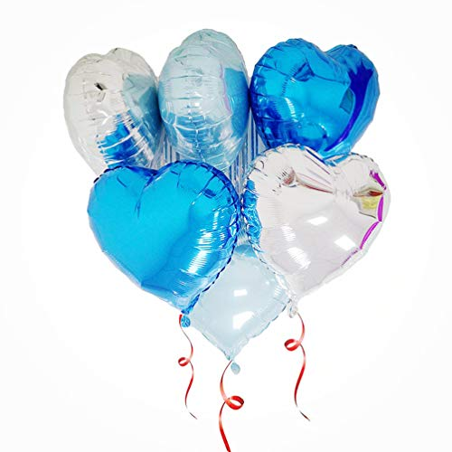 (AZOWA 30 Pcs Heart Balloons 18 inch Blue Heart Shaped Foil Mylar Balloons for Valentine's Bridal Shower Wedding Birthday Party Decorations)