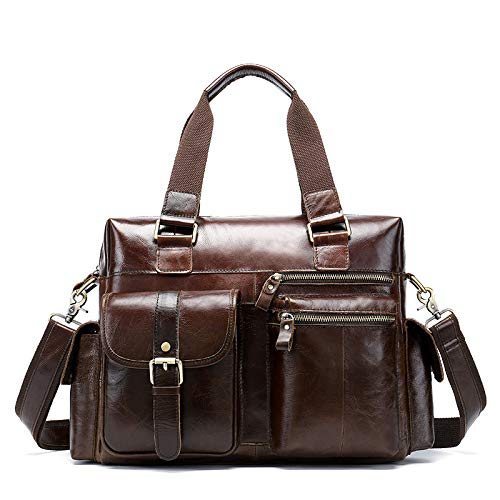 Vintage Suede Leather Tote, Men's Leather Briefcase B