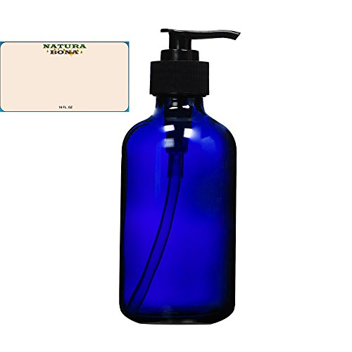 Natura Bona Professional Glass 16oz Boston Round Bottle with BPA Free Saddle Dispensing Pump & Label. Perfect for DIY Lotions, Soaps, Massage and Skin Oils, Hair Treatments - Bono Glasses Blue