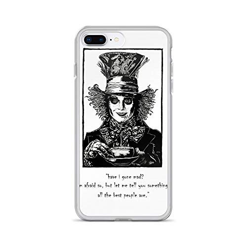 iPhone 7 Plus/8 Plus Case Anti-Scratch Motion Picture Transparent Cases Cover The Mad Hatter Pen Drawing Movies Video Film Crystal Clear
