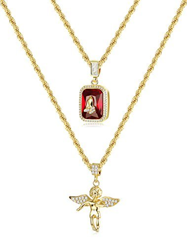 (Thunaraz 2Pcs 18k Gold Plated Necklace Angel Hip Hop Pendent Praying Hands Necklace Twist Rope Chain 24'' 30inch)