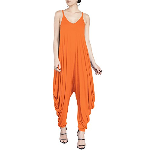 Dreamskull Women's Punk Spaghetti Strap Jumpsuit V Neckline Comfy Loose Harem One Piece Romper (S, Orange) -