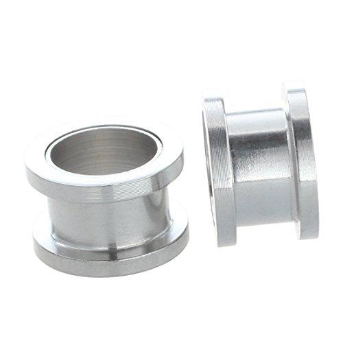 - SODIAL(R) Silver Steel Gauge Earring Punk Flesh Tunnel Ear Plugs Rimmed Flat Style Type:391 - Rimmed Silver Tunnels Amount:Pair (12mm)