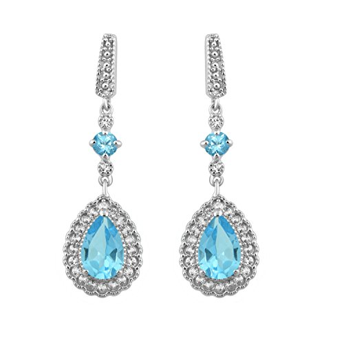 Jewelili Sterling Silver 9x6mm Pear Shaped and 3.5mm Round Genuine Stone Blue Topaz with Round Created White Sapphire Teardrop Dangling Earrings