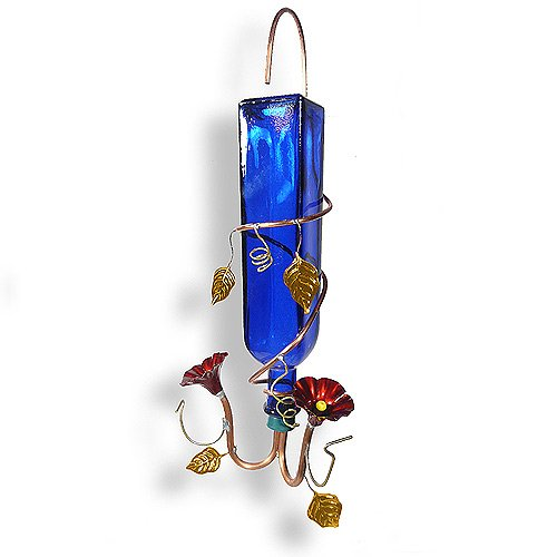 Modern Artisans American Made Copper and Blue Bottle Hanging Hummingbird Feeder