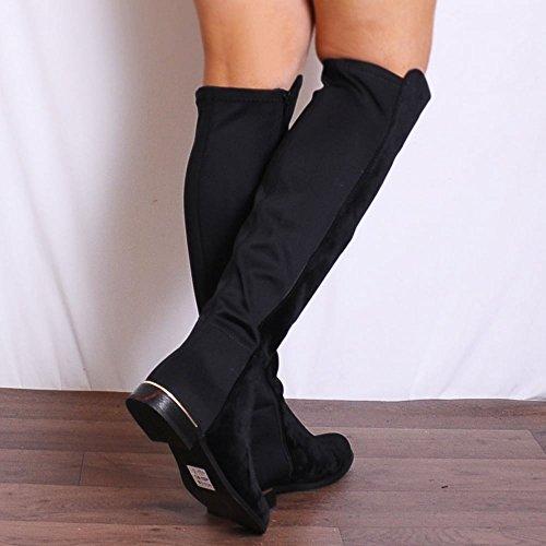 Garniture Plate Haute De Genou Bottes Chaussures De Dames Noir Or Faux Suède