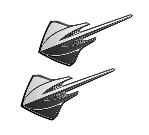 2x (pair/set) Silver Black STINGRAY Real Aluminum Auto for sale  Delivered anywhere in Canada