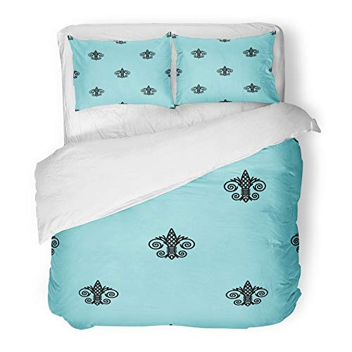 (Emvency 3 Piece Duvet Cover Set Brushed Microfiber Fabric Blue Abstract Fleur De Lis Island Paradise and Black Color Antique Beautiful Breathable Bedding Set with 2 Pillow Covers King Size)
