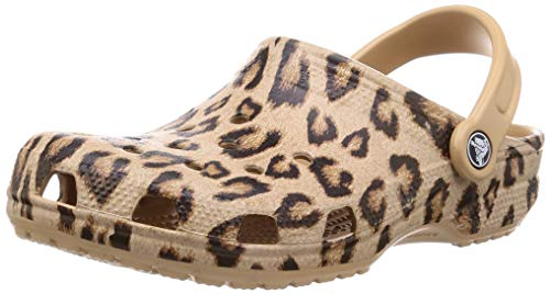 Crocs Men's and Women's Classic Printed Clog | Casual Lightweight Beach Sandal or Shower Shoe, Leopard/Gold, 9 US Women / 7 US Men
