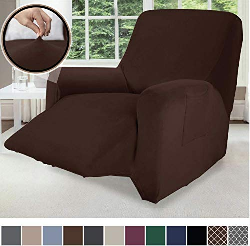 Gorilla Grip Original Fitted Velvet 1 Piece Small Recliner Protector for Seat Width to 28 Inch, Stretchy Furniture Slipcover, Fastener Straps, Spandex Reclining Chair Cover Throw for Pets, Chocolate