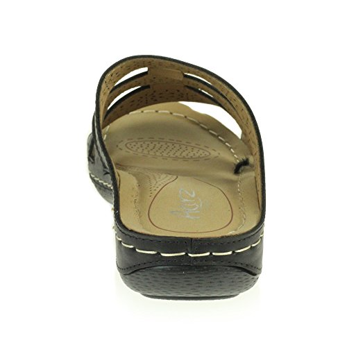 LONDON Wedge AARZ Cushioned Ladies Lightweight Black Low Heel Womens Shoes Open Comfort Casual Summer Sandals Toe Size dzxCqgwFz