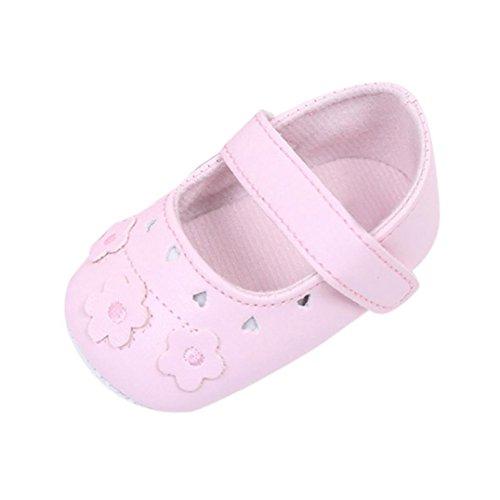 Fabal Newborn Baby Girls Princess Flower Soft Bottom Shoes Crib Babe Ballet Dress Shoes (0~6 Month, Pink)