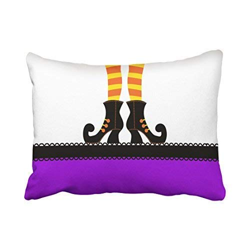 Custom Vintage Modern Funny Halloween Witch Shoes White and Purple 20x30 Inch Rectangle Throw Pillow Covers with Hidden Zipper Home Sofa Cushion Decorative Pillowcases]()