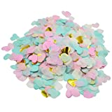 Mybbshower Pink Mint Gold Party Confetti Tissue Paper Hearts Wedding Toss Pack of 3.5 oz