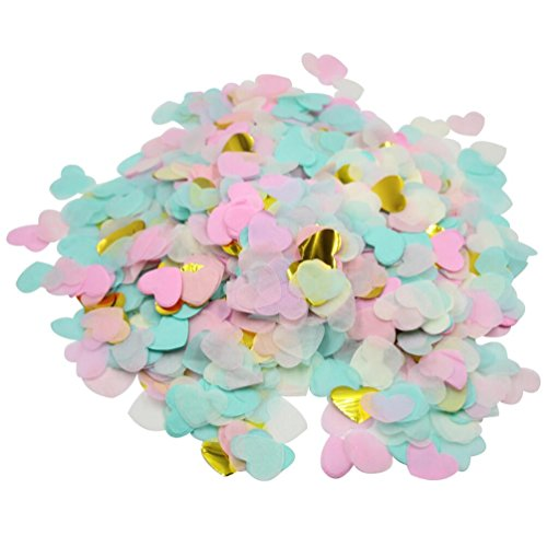 Mybbshower Pink Mint Gold Party Confetti Tissue Paper Hearts Wedding Toss Pack of 3.5 oz by Mybbshower