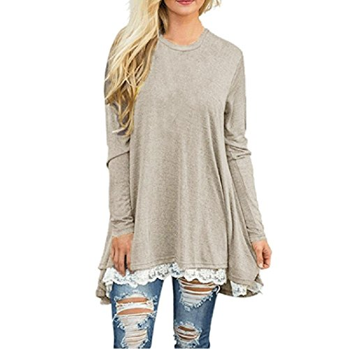 ❤️ Clearance Womens Ladies Casual Lace Long Sleeve Shirt Pullover Tops Blouse Lace Paneled Long-Sleeved Top Duseedik