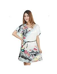 Neevas Women's Chinese Style Short Sleeve Silk Dress Loose Nightgown Pajamas Bathrobe