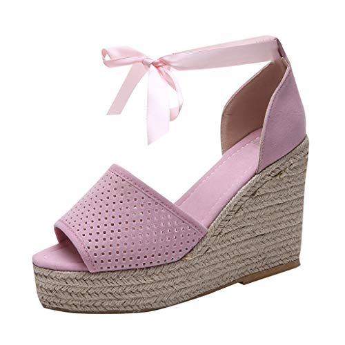 - Lefthigh Platform Strap Straw Wedges Shoes, Summer Women's n Wedge Casual Sandals Fish Mouth