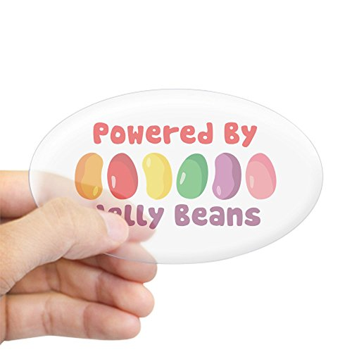 (CafePress Powered by Jelly Beans Sticker Oval Bumper Sticker, Euro Oval Car Decal)