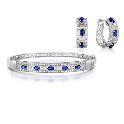 NATALIA DRAKE Blowout Sale Gemstone Earring and Bangle Set-Ruby & Blue Sapphire (Blue Sapphire)