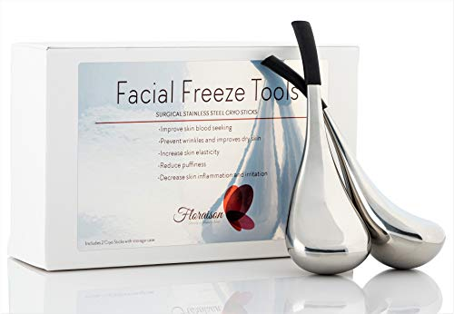 Floraison Face Skin Cryo Sticks Ice Cooling Roller Tool Cold Globes Surgical Stainless Steel for Facial Massage Neck Eyes Anti Puff Anti Aging Treatment Wands