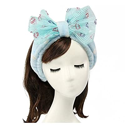 Shintop Women Fashion Lovely Soft Carol Fleece Bowknot Bow Makeup Cosmetic Shower Elastic Hair Band Hairlace Headband