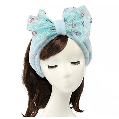 Shintop Women Fashion Lovely Soft Carol Fleece Bowknot Bow Makeup Cosmetic Shower Elastic Hair Band Hairlace Headband