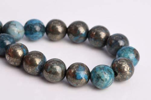 8mm Natural Aqua Blue Pyrite Grade Round Gemstone