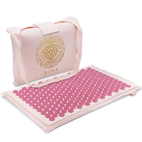 Ajna Acupressure Mat for Massage - Natural Organic Linen Cotton Acupuncture Mat with Bag - Back Pain Relief, Neck Pain Relief, Stress Reliever, Reflexology, Sciatica and Trigger Point Massage Therapy
