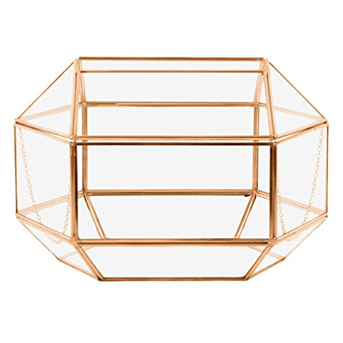- Koyal Wholesale Geometric Glass Wedding Card Gift Box Holder, Reception Drop Box, Modern Lantern Table Décor, Geometric Wedding Decor, Terrarium Planter (Rose Gold, 12 x 9-Inch)