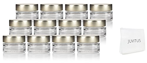 Clear Heavy Base Glass Luxury Travel Refillable Pot Container Jar with Gold Metal Lid - .25 oz / 7 ml (12 pack) + Travel Bag for Samples, Balms, Makeup and Cosmetics, Salves, Airtight and Lead Free 0.25 Ounce Glass